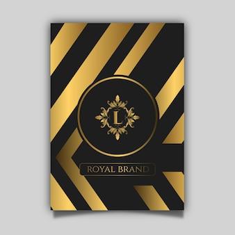 Cartaz de luxo com ouro e padrão preto