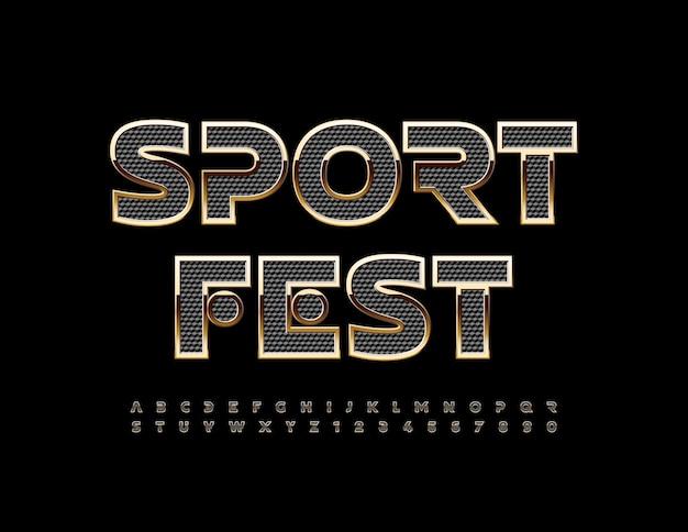 Cartaz de luxo de vetor sport fest elite criativa alfabeto letras e números fonte abstrata premium