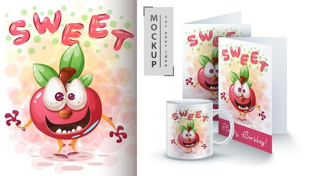 Cartaz de maçã doce e merchandising