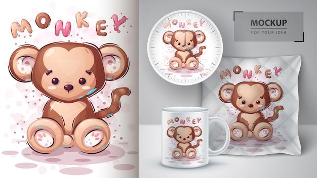 Cartaz de macaco bonito e merchandising