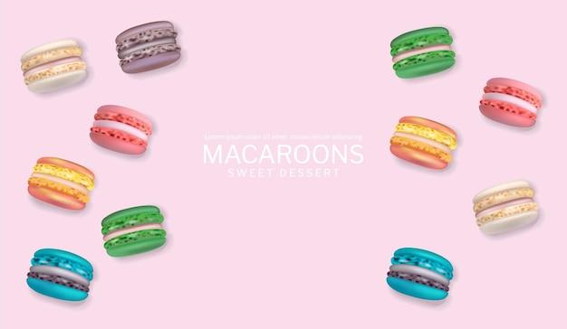 Cartaz de macaroons coloridos vetor realista. ilustrações detalhadas 3d