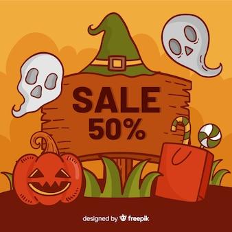 Cartaz de madeira de venda para ofertas de halloween