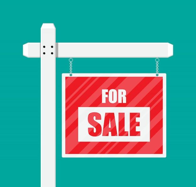 Cartaz de madeira para venda. sinal de imóveis