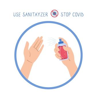 Cartaz de mãos segura antibacteriano, spray antiviral, estilo cartoon ícone parar coronavirus lavar as mãos, uso antibacteriano anti-séptico sanitário