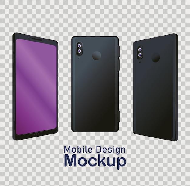 Cartaz de maquete de design de celular, ícones realistas de smartphones