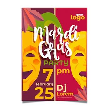 Cartaz de mardi gras de design plano