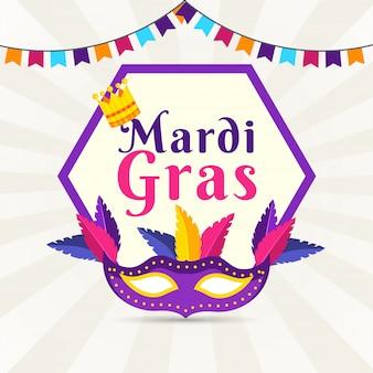 Cartaz de mardi gras estilo simples