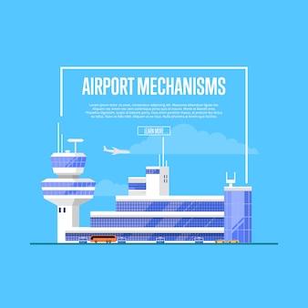 Cartaz de mecanismos de aeroporto com terminal aéreo moderno