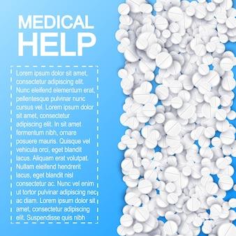 Cartaz de medicamentos farmacêuticos com texto e remédios de drogas pílulas brancas na ilustração azul