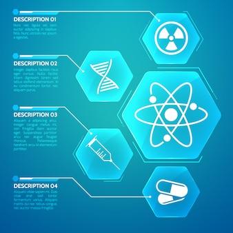 Cartaz de medicina azul com ilustração plana de código genético e símbolos de ciência