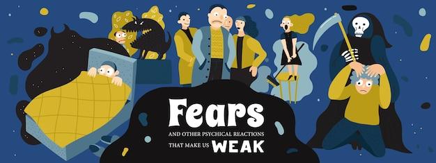 Cartaz de medos humanos com ilustração de banner de símbolos de pesadelo e fobia