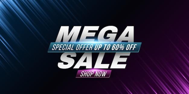 Cartaz de mega venda. abstratos raios roxos e azuis. efeito de luz.