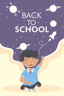 Cartaz de menino de volta às aulas