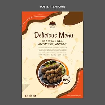 Cartaz de menu delicioso de design plano