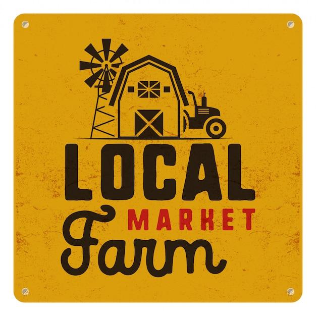 Cartaz de mercado agrícola local com símbolos de fazendeiro e elementos - trator, moinho de vento, ilustração de celeiro