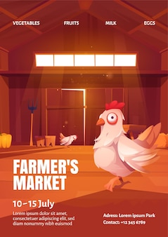 Cartaz de mercado de fazendeiros com ilustração de galinha no celeiro de madeira.