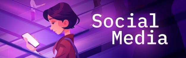 Cartaz de mídia social com garota usando telefone celular em banner de vetor de escada rolante de comunicação online ...