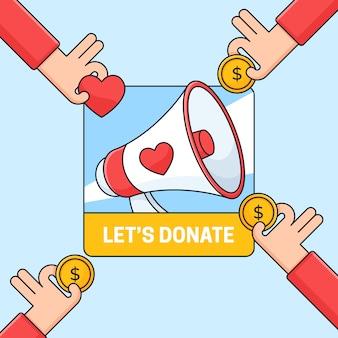 Cartaz de mídia social com ilustração de campanha de doação com ícone de megafone