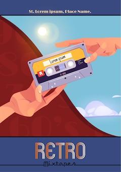Cartaz de mixtape retrô com as mãos segurando uma fita cassete de áudio vintage