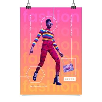 Cartaz de moda colorida com foto de mulher