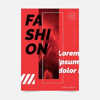 Cartaz de moda colorida em tons de vermelho