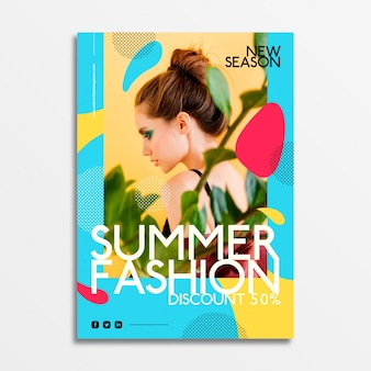 Cartaz de moda com foto de jovem
