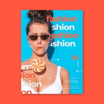 Cartaz de moda design colorido com foto