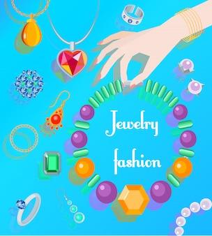 Cartaz de moda jóias com mão de mulher segurando o colar