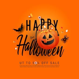 Cartaz de modelo de arte na moda feliz halloween com laranja doce ou doce de abóbora e doces de cor, morcegos, aranha e mão criativa desenhar texto em fundo laranja. camada plana, vista superior com espaço de cópia