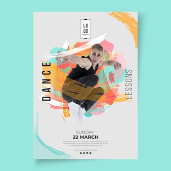 Cartaz de modelo de aulas de dança