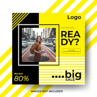 Cartaz de modelo de banner de venda para instagram ou mídias sociais