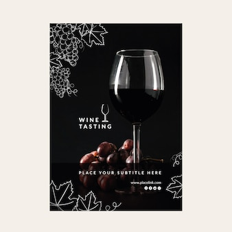 Cartaz de modelo de degustação de vinhos
