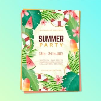 Cartaz de modelo de festa em aquarela de verão