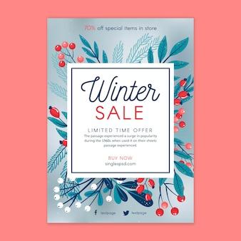 Cartaz de modelo de venda de inverno