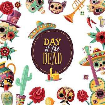 Cartaz de moldura quadrada de dia morto com elementos de evento borda decorativa guitarra scull em cacto sombrero