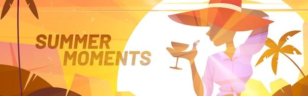 Cartaz de momentos de verão com silhueta de mulher de chapéu e coquetel