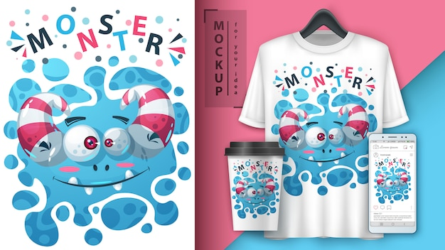 Cartaz de monstro bonito e merchandising