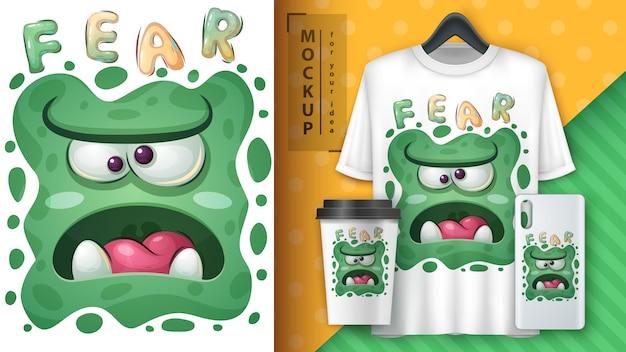 Cartaz de monstro bonito e merchandising.