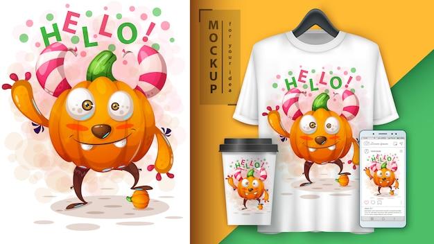 Cartaz de monstro de abóbora bonito e merchandising