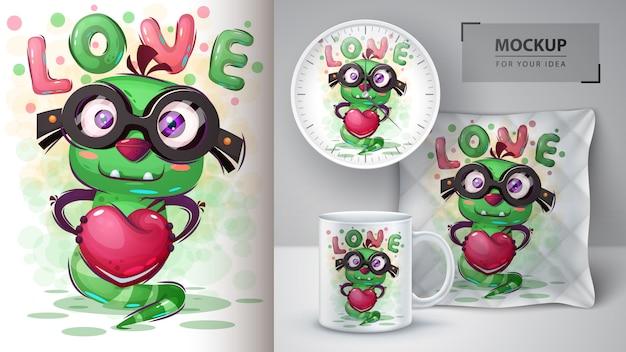 Cartaz de monstro de amor e merchandising