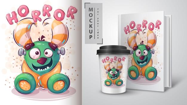 Cartaz de monstro de horror e merchandising.