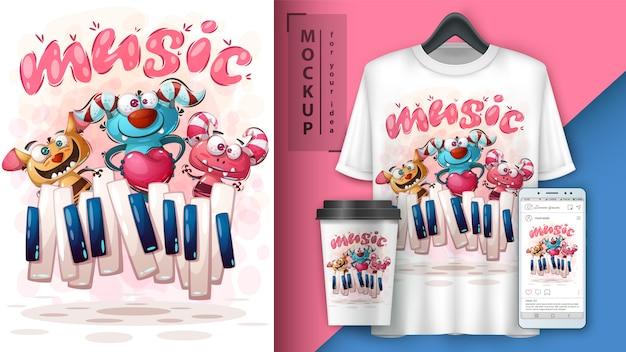 Cartaz de monstro de música e merchandising