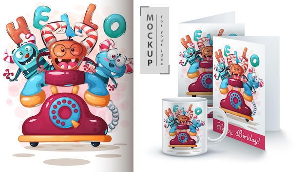 Cartaz de monstro de telefone e merchandising