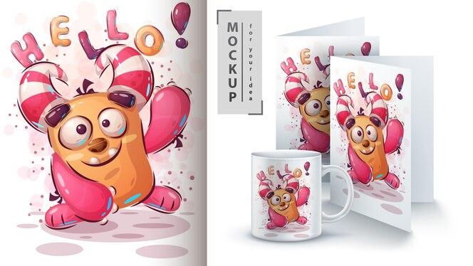 Cartaz de monstro fofo e merchandising