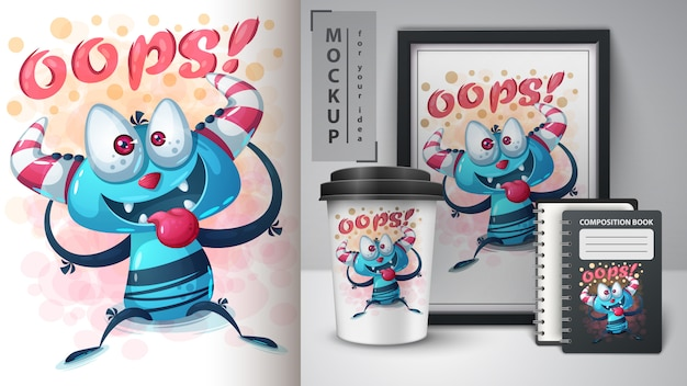 Cartaz de monstro louco e merchandising
