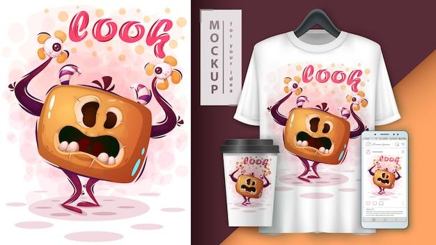 Cartaz de monstro mal e merchandising