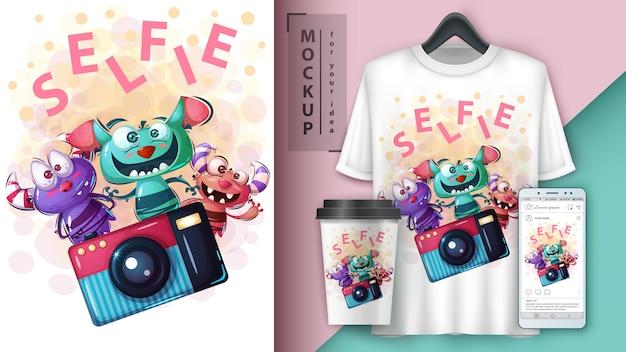 Cartaz de monstro selfie e merchandising
