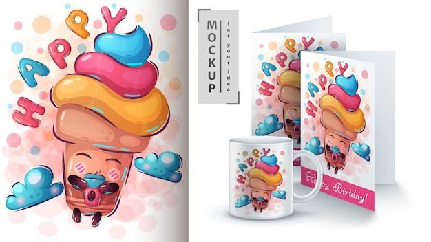 Cartaz de mosca de sorvete e merchandising
