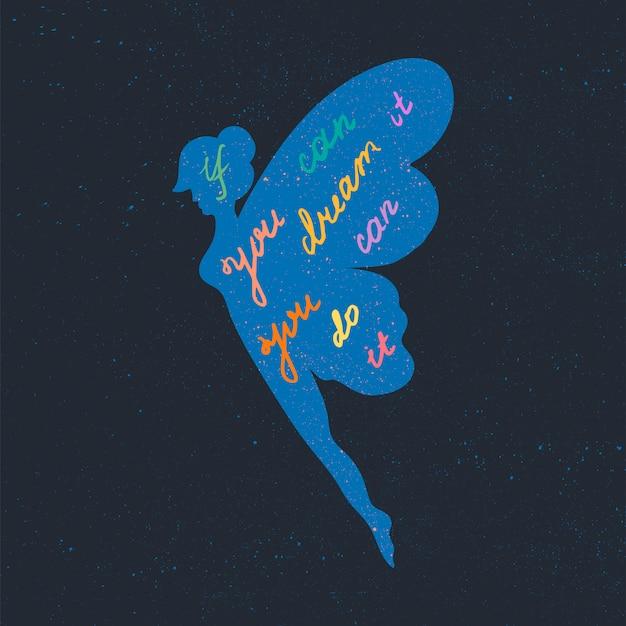 Cartaz de motivação de letras, se você pode sonhar, você pode fazê-lo.
