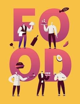 Cartaz de motivação do restaurante comida personagem tipografia.